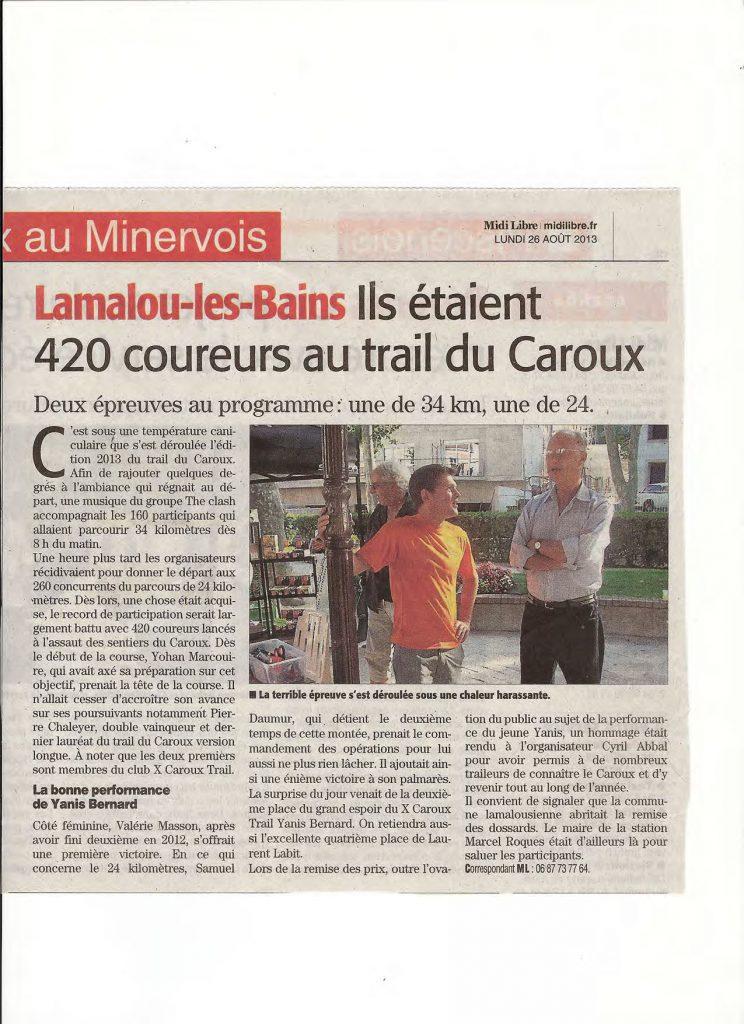 Article Midi Libre 26 août 2013 sur le Trail du Caroux